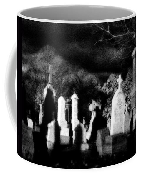 Graveyard Coffee Mug featuring the photograph The Haunting Shadows by Gothicrow Images