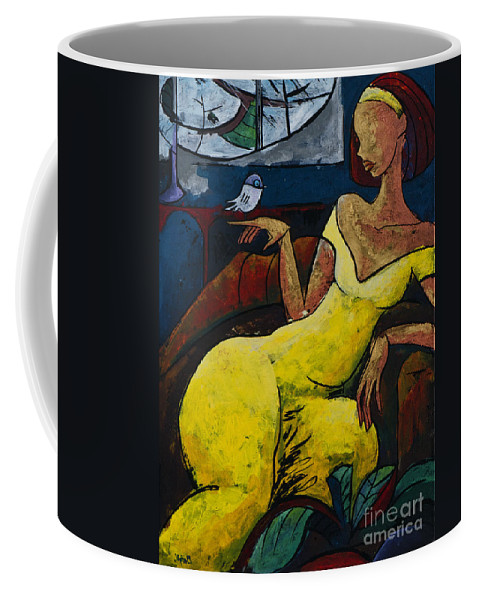 Love Coffee Mug featuring the painting The Healing Process - From The Eternal WHYs series by Elisabeta Hermann