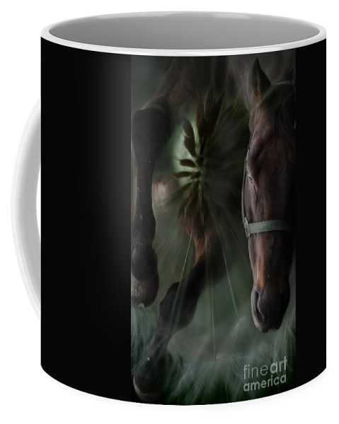 Abstract Coffee Mug featuring the photograph The Horse And The Dandelion by Angel Tarantella