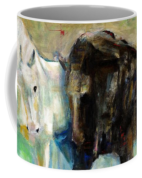 Equine Art Coffee Mug featuring the painting The Horse As Art by Frances Marino