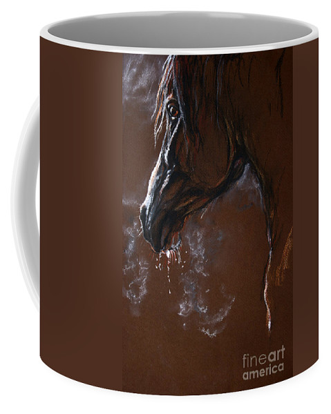 Horse Coffee Mug featuring the drawing The Horse Portrait by Angel Ciesniarska