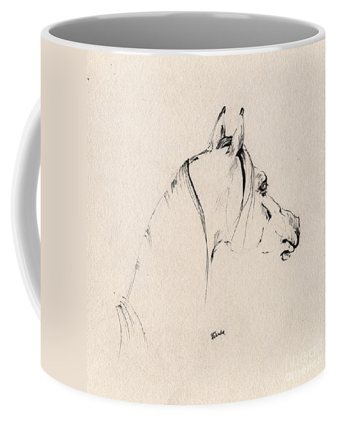Horse Coffee Mug featuring the drawing The Horse Sketch by Angel Ciesniarska