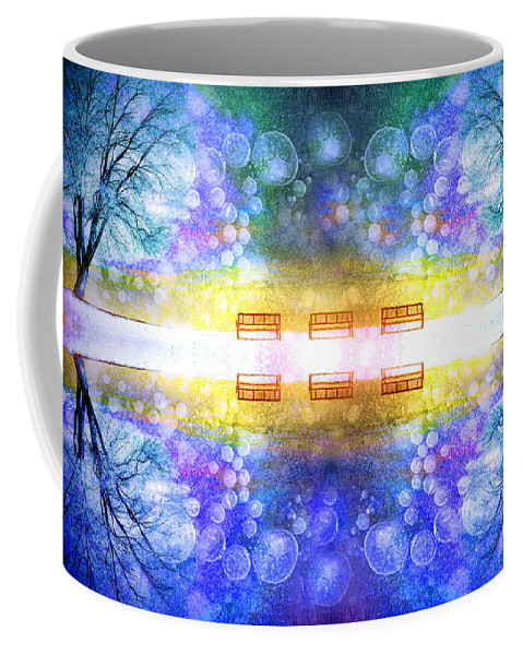 Benches Coffee Mug featuring the photograph The Illusion Benches by Tara Turner