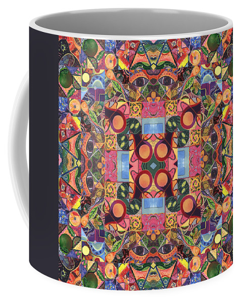 Abstract Coffee Mug featuring the digital art The Joy Of Design Mandala Series Puzzle 2 Arrangement 1 by Helena Tiainen
