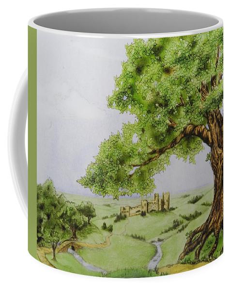 Animation Background Cartoon Castle Landscape Coffee Mug featuring the digital art The Keep by Brenda Salamone