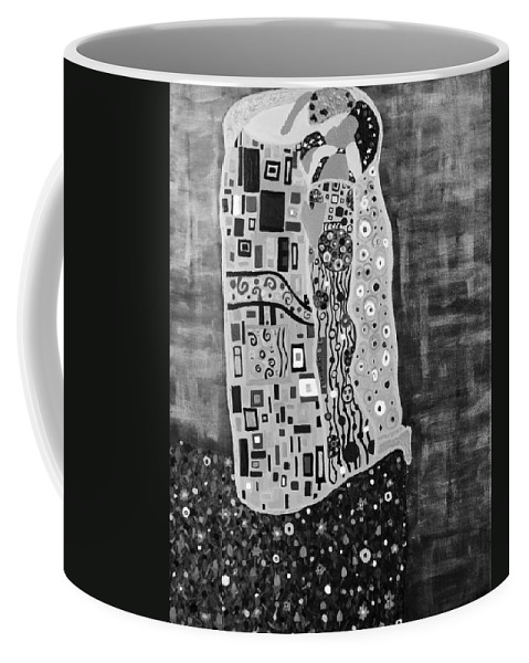 Romance Coffee Mug featuring the painting The Kiss Bw by Angelina Vick