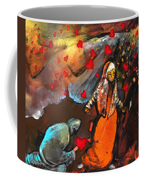 Valentine Coffee Mug featuring the painting The Knight Of Your Heart by Miki De Goodaboom
