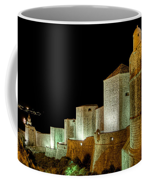 Ramparts Coffee Mug featuring the photograph The Landside Walls Of Dubrovnik At Night No2 by Weston Westmoreland