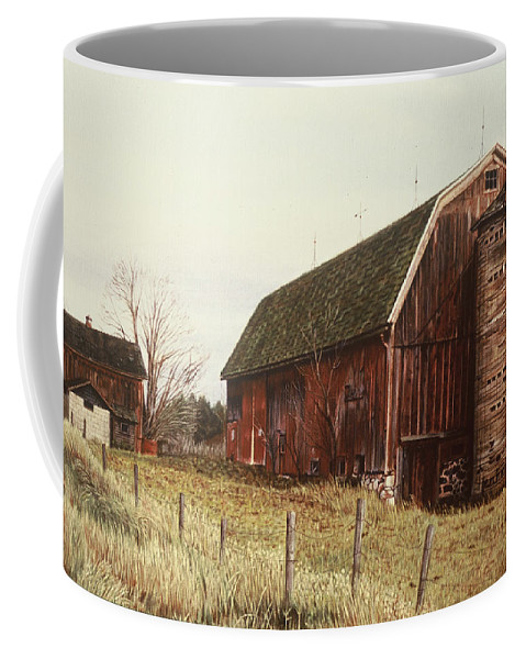 Barn Coffee Mug featuring the painting The Last Wooden Silo by James Welch