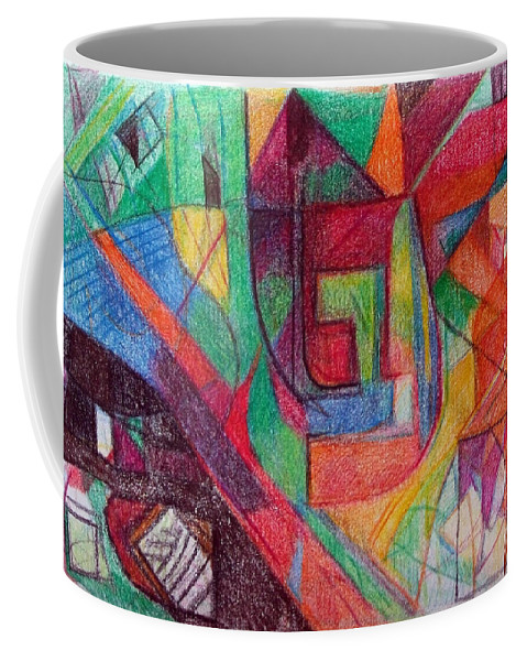 Torah Coffee Mug featuring the drawing The Letter Peh by David Baruch Wolk