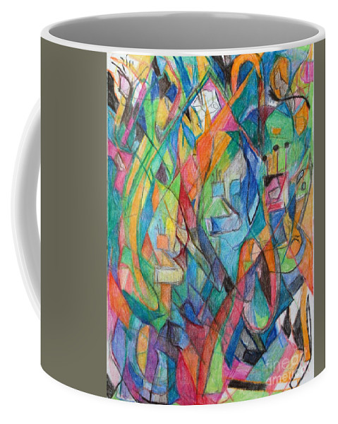 Coffee Mug featuring the drawing the letter Tzadi 2 by David Baruch Wolk
