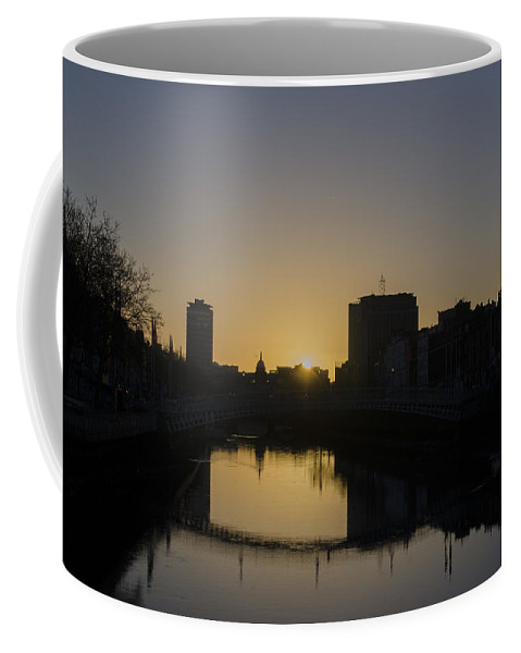 Liffey Coffee Mug featuring the photograph The Liffey River In Morning - Dublin Ireland by Bill Cannon