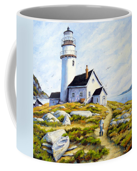 Fishing Boats; Fishermen; Bot Coffee Mug featuring the painting The Lighthouse Keeper by Richard T Pranke
