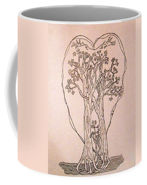 Family Coffee Mug featuring the drawing The Love And Celebration Of The Maple Tree Family by Patricia Keller