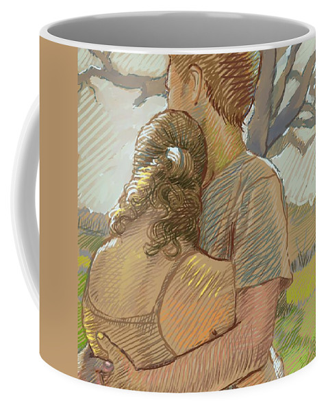 Couple Coffee Mug featuring the drawing The Lovers by Dominique Amendola