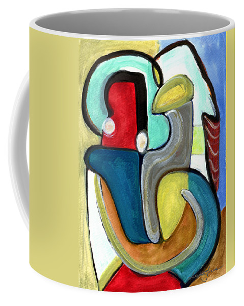 Abstract Art Coffee Mug featuring the painting The Lovers by Stephen Lucas