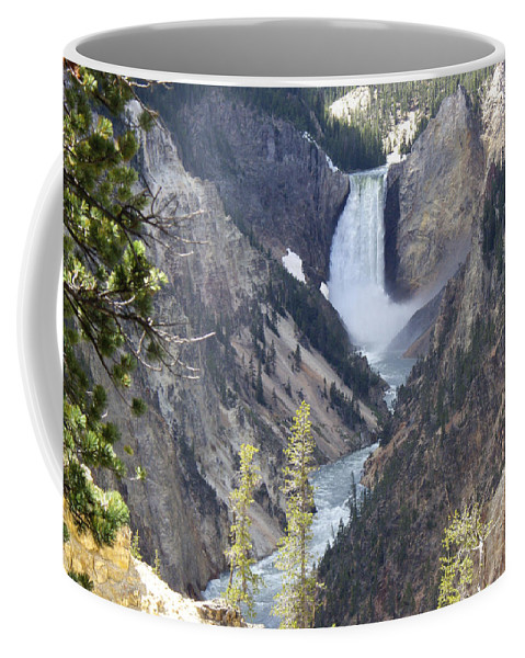 Yellowstone Coffee Mug featuring the photograph The Lower Falls Of Yellowstone River by Barb Dalton