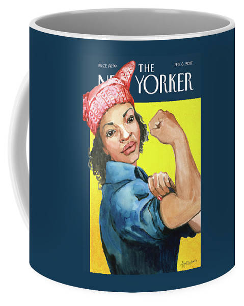 Pussy Hat Coffee Mug featuring the painting The March by Abigail Gray Swartz