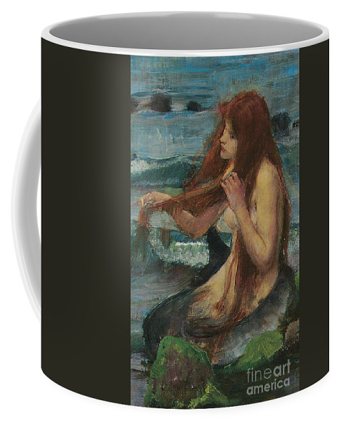 Mermaid; Myth; Mythology; Mythological; Pre Raphaelite; Pre-raphaelite; Combing; Combing Hair; Brushing; Brushing Hair; Red Hair; Redhead; Red-haired; Melancholy; Rock; Siren; Nude; Sketch; Study; Wistful; Daydreaming; Romance; Fairytale Coffee Mug featuring the painting The Mermaid by John William Waterhouse