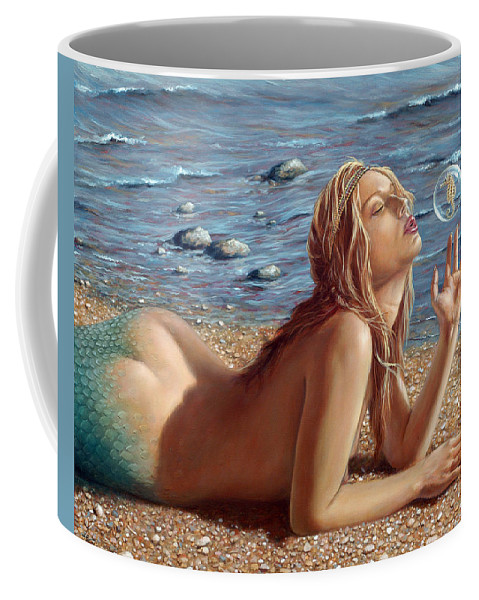 Seahorse Coffee Mug featuring the painting The Mermaids Friend by John Silver