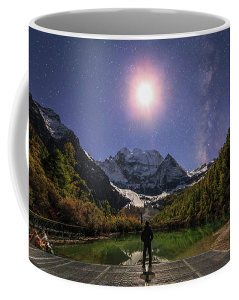 Horizontal Coffee Mug featuring the photograph The Milky Way And Waxing Cresent Moon by Jeff Dai