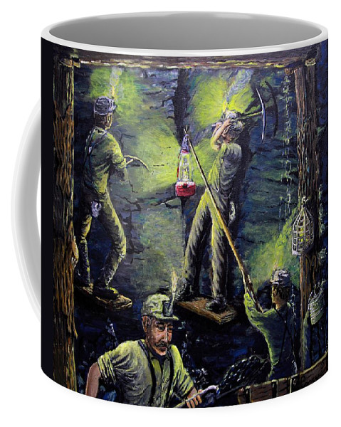 Coal Miners Coffee Mug featuring the painting The Miners Way by Carey MacDonald