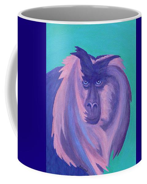 Monkey Coffee Mug featuring the painting The Monkey's Mane by Margaret Saheed