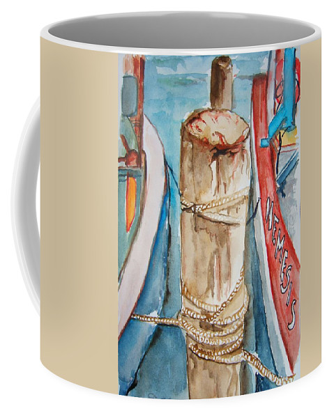 Boat Coffee Mug featuring the painting The Mooring by Elaine Duras