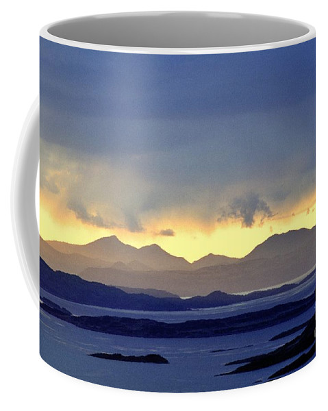 Scottish Coffee Mug featuring the photograph The Mountains Of Mull Seen Over The Sound Of Jura Inner Hebrides Scotland From Above Crinan by David Lyons