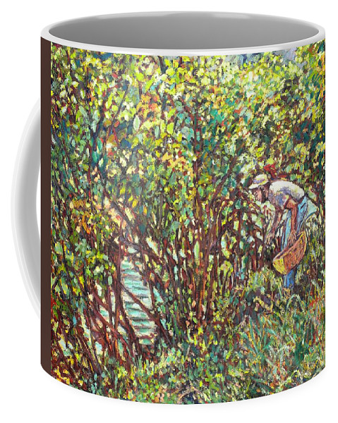 Landscape Coffee Mug featuring the painting The Mushroom Picker by Kendall Kessler