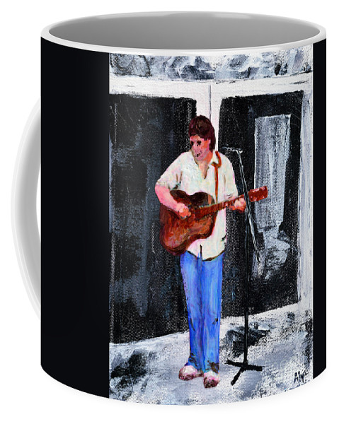 Singer Coffee Mug featuring the mixed media The Musician by Alys Caviness-Gober
