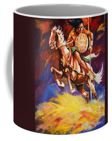 Plains Indians Coffee Mug featuring the painting The Mystic Warrior by Al Brown