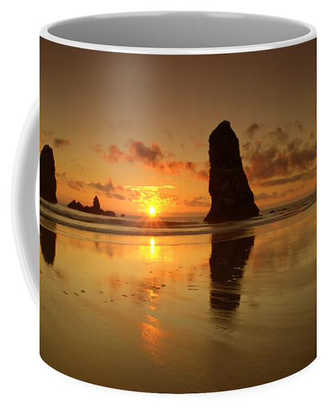 Sunset At The Needles At Haystack Rock Cannon Beach Oregon Coast Seascape Silhouette Coffee Mug featuring the photograph The Needles At Haystack - Cannon Beach Sunset by Brian Harig