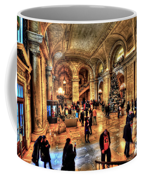 Architecture Coffee Mug featuring the photograph The New York Public Library by Tina Baxter