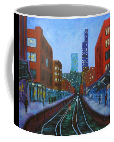 Chicago Art Coffee Mug featuring the painting The Next Train by J Loren Reedy