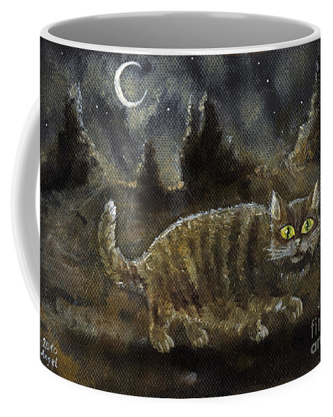 Cat Coffee Mug featuring the painting The Night Stalker by Angel Ciesniarska