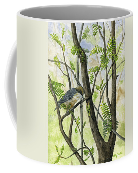 Bird Coffee Mug featuring the painting The Nuthatch by Mary Tuomi