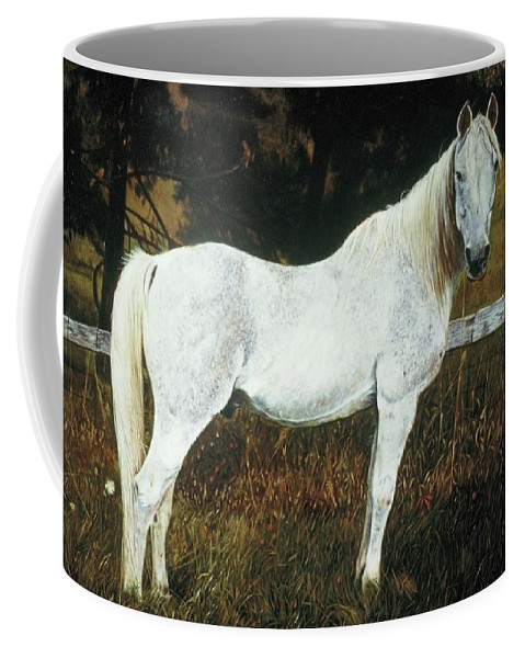 Horse Coffee Mug featuring the painting The Old Arabian by James Welch