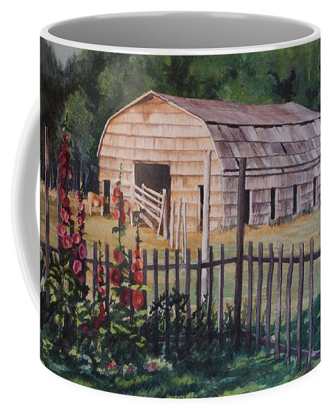 Shingles Coffee Mug featuring the painting The Old Barn by Nancy Delgado