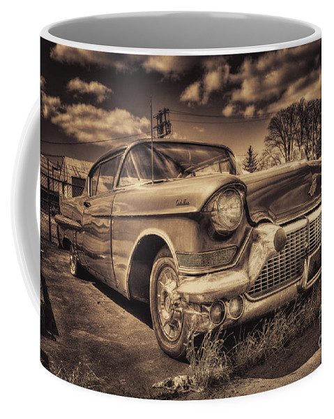 Cadillac Coffee Mug featuring the photograph The Old Cadillac by Rob Hawkins