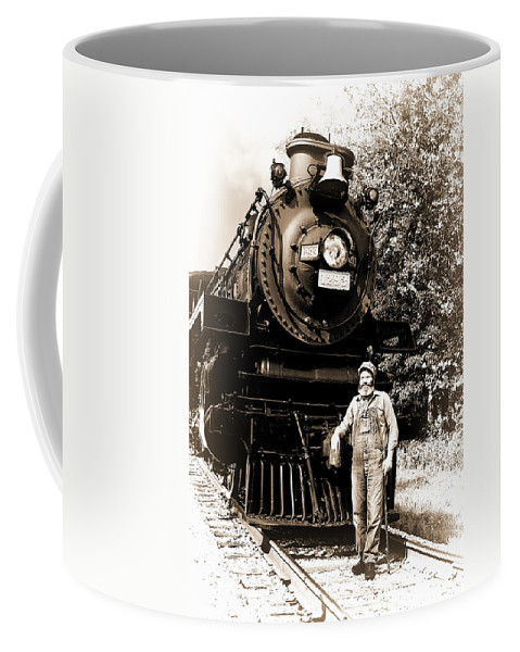 Train Coffee Mug featuring the photograph The Old Engineer by Marcia Colelli