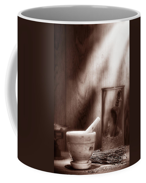 Antique Coffee Mug featuring the photograph The Old Lavender Artisan Shop In Sepia by Olivier Le Queinec