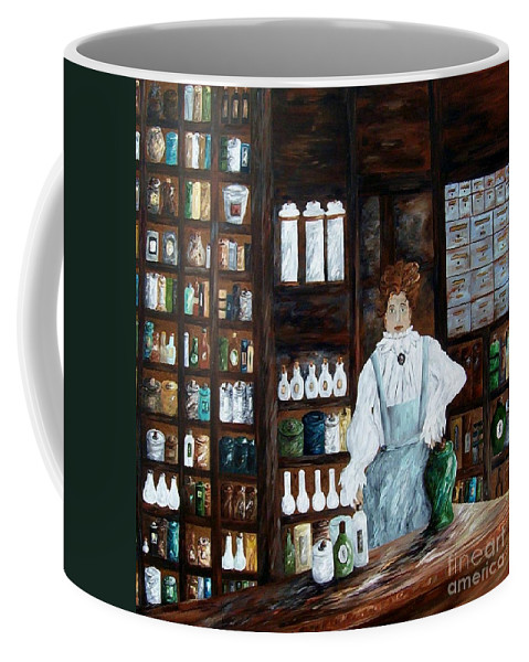 Apothecary Coffee Mug featuring the painting The Old Pharmacy ... Medicine In The Making by Eloise Schneider Mote