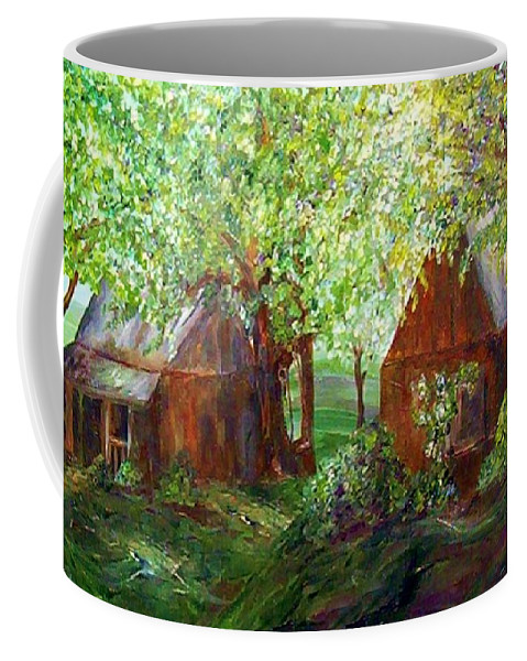 Landscape Coffee Mug featuring the painting The Old Swing Between The House And The Barn by Eloise Schneider