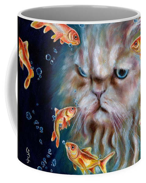 Cat Coffee Mug featuring the painting The Other Side Of Midnight by Hiroko Sakai