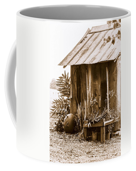Outhouse Coffee Mug featuring the photograph The Outhouse by Carolyn Marshall