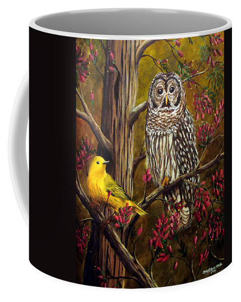 Bird Coffee Mug featuring the painting The Owl and the Canary by David G Paul