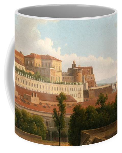 Alexandre-hyacinthe Dunouy Coffee Mug featuring the painting The Palazzo Reale And The Harbor. Naples by Alexandre-Hyacinthe Dunouy