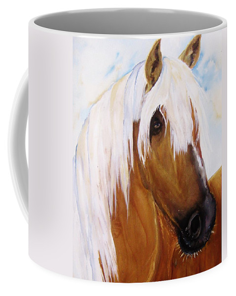 Horse Coffee Mug featuring the painting The Palomino by Lil Taylor