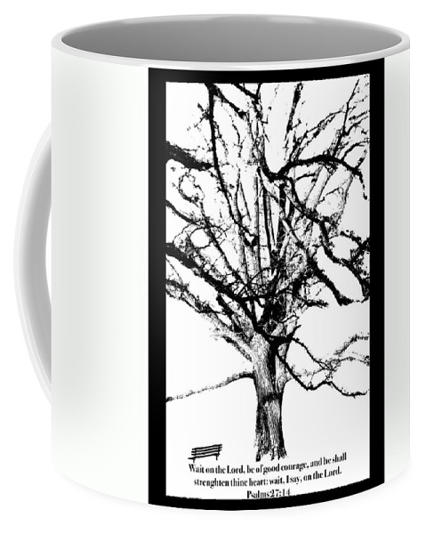 Tree Coffee Mug featuring the photograph The Park Bench With Scripture by Debbie Nobile